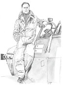 Sir Drawings - Sir Douglas Bader by Richard Savage