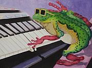 Elton John Painting Framed Prints - Sir Elton Frog Framed Print by Merida Umpierre