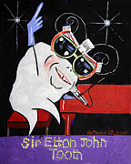 Stretched Canvas Metal Prints - Sir Elton John Tooth  Metal Print by Anthony Falbo