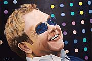 Elton John Paintings - Sir Elton by Kenneth Kelsoe