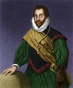 Colonial Man Framed Prints - Sir Francis Drake, English Explorer Framed Print by Maria Platt-evans