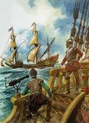 Frigate Painting Prints - Sir Francis Drake Print by Peter Jackson