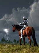 Knight In Shining Armor Posters - Sir Lightning Rod Poster by Daniel Eskridge