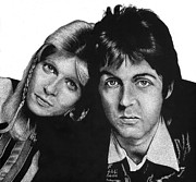 Celebrities Drawings Posters - Sir Paul and Lady Linda Poster by Sheryl Unwin