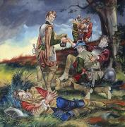 Gouache Paintings - Sir Philip Sidney at The Battle of Zutphen by Ron Embleton