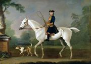 Hound Dogs Framed Prints - Sir Roger Burgoyne Riding Badger Framed Print by James Seymour