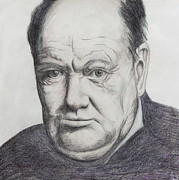 World Leader Drawings - Sir Winston Churchill by Daniel Young
