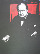 Prime Painting Framed Prints - Sir Winston Leonard Spencer Churchill  Framed Print by Luis Ludzska