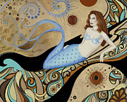 Mermaid Posters - Siren by the Sea Poster by BK Lusk