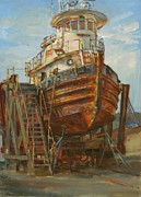 Vineyard Haven Prints - Sirius the Tug Print by Sharon Jordan Bahosh