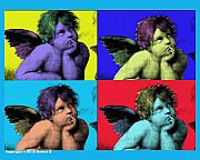 Splashy Photo Metal Prints - Sisteen Chapel BLUE CHERUB ANGELS after Michelangelo after Warhol Robert R Splashy Art POP ART PRINT Metal Print by Robert R Splashy Art