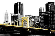 Three Sisters Bridges Digital Art Prints - Sister #2 in Pittsburgh Print by Paul Henry