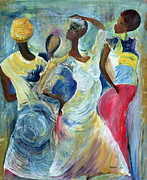 Sisters Painting Framed Prints - Sister Act Framed Print by Ikahl Beckford