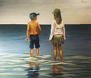 Seascape Prints - Sister And Brother Print by Natalia Tejera