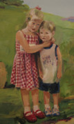 Realistic Paintings - Sister and brother by Tigran Ghulyan