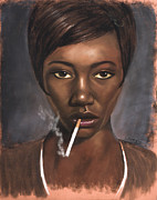 African American Art Pastels Framed Prints - Sister with Cigarette Framed Print by L Cooper