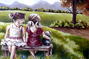 Sisters Paintings - Sisters - RG25 by Rache Gerber