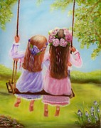 Spring Time Paintings - Sisters and Friends Forever by Joni McPherson