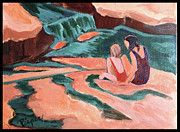 Park Scene Paintings - Sisters at Slide Rock by Betty Pieper