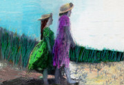 Sisters Pastels Metal Prints - Sisters at the Beach 2 Metal Print by Lydia L Kramer