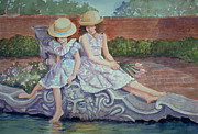 Spring Dresses Framed Prints - Sisters at the Fountain Framed Print by Audrey Peaty