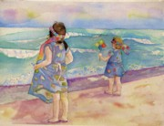 Sisters Paintings - Sisters By The Sea by Anne McMath