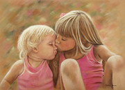Sisters Pastels Framed Prints - Sisters Framed Print by Colleen Quinn