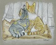 Cat Poster Pastels Framed Prints - Sisters in Pastels Framed Print by Carol Wisniewski