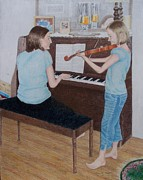 Sisters Drawings Originals - Sisters by Karen Brannon