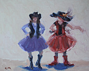 Cowgirls Paintings - Sisters by Karen McLain
