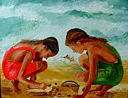 Playing Painting Originals - Sisters on the beach by Inna Montano
