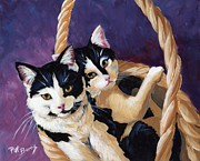 Oil Cat Paintings - Sisters by Pat Burns