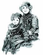 Expression Drawings Prints - Sisters Print by Ramneek Narang