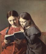 Dresses Paintings - Sisters Reading a Book by Carl Hansen
