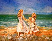 Family Love Paintings - Sisters by Rebecca Robinson