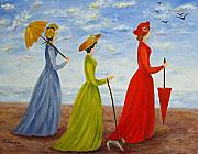 Umbrella Painting Originals - Sisters by Roseann Gilmore