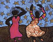 Folk Art Paintings - Sisters Sarah Sue and Sally Mae Swinging the NIght Away by Wayne Potrafka