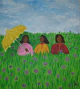 Flower Field Paintings - Sisters Talk by Sheila J Hall