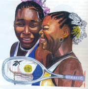 Serena Drawings Posters - Sisters Williams Poster by Emmanuel Baliyanga