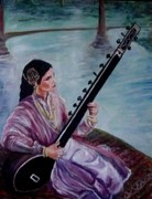 Photo Real Paintings - Sitar Along the Ganges by Thomas Fleming