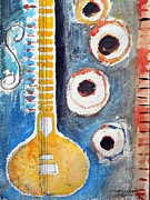 Indian Artist Prints - Sitar Print by Shubhankar Adhikari