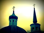 Onion Domes Paintings - Sitka Russian Orthodox 9 by Randall Weidner