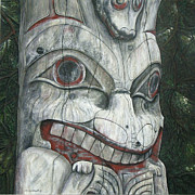 Wood Reliefs Framed Prints - Sitka Totem-Alaska Framed Print by Elaine Booth-Kallweit