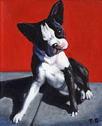 White Dog Framed Prints - Sittin on a Crack Framed Print by Pat Burns