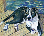 Boxer  Pastels Prints - Sittin on the Dock Print by D Renee Wilson