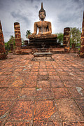 Church Pillars Prints - Sitting Buddha Print by Adrian Evans