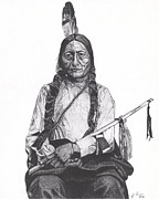 Bull Drawings - Sitting Bull by Jeff Ridlen