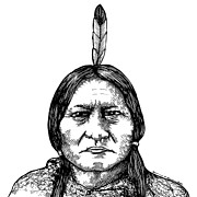 Drawn Prints - Sitting Bull Print by Karl Addison