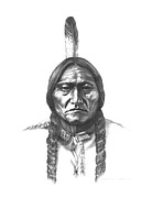 Indian Wars Drawings Prints - Sitting Bull Print by Lee Updike