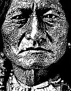 Pointillism Art - Sitting Bull by Max Eberle